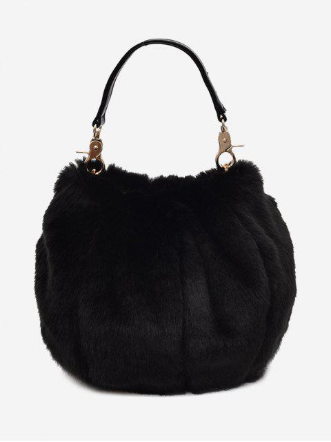 hot Multi Function Fuzzy Handbag - BLACK  Mobile