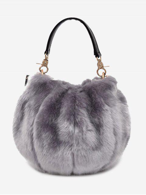 trendy Multi Function Fuzzy Handbag - GRAY  Mobile