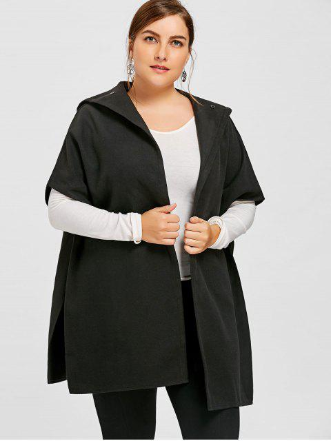 new Plus Size Hooded Cape Coat - BLACK 5XL Mobile