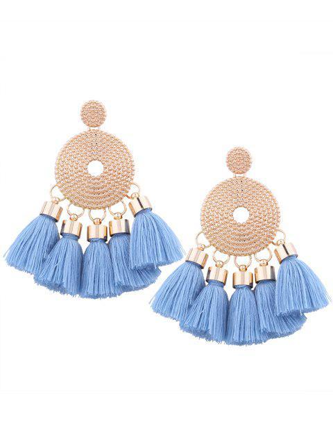 Boucles d'oreilles rondes en gland en alliage - Bleu  Mobile