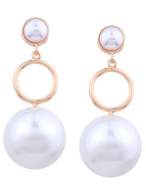 Pendientes de gota de capas de círculo de perlas artificiales - Dorado  Mobile