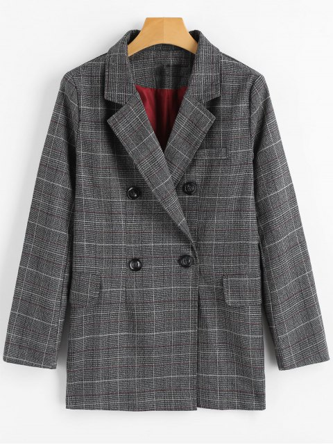 best Double Breasted Checked Lapel Blazer - CHECKED S Mobile