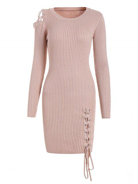new Open Shoulder Lace Up Sweater Dress - PINKBEIGE ONE SIZE Mobile