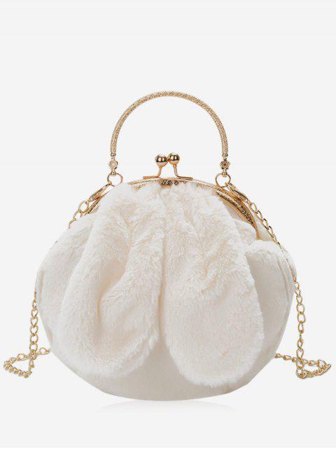 lady Rabbit Ear Embellished Faux Fur Handbag - WHITE  Mobile