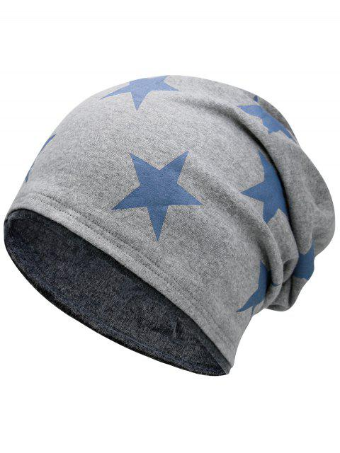 fancy Simple Star Pattern Reversible Lightweight Beanie - LIGHT GREY  Mobile
