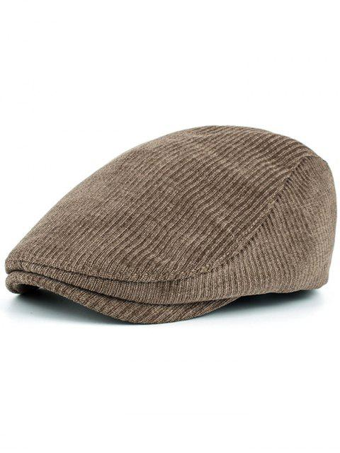 lady Striped Pattern Embellished Adjustable Newsboy Hat - KHAKI  Mobile