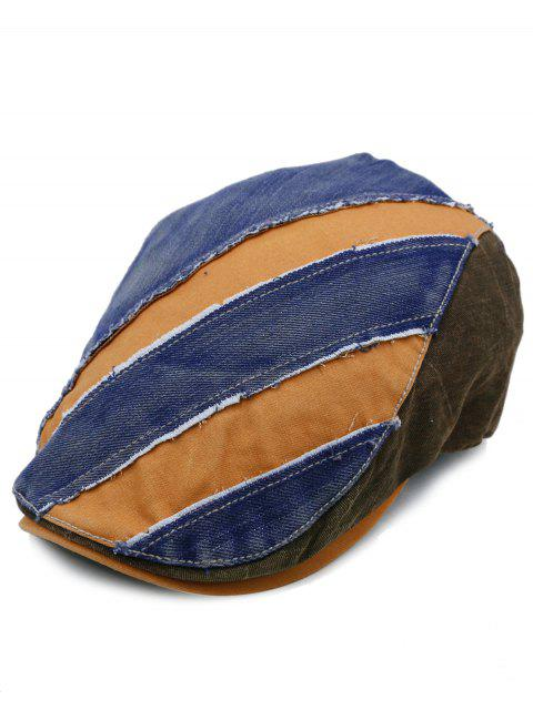 Chapeau de Cabbie Ajustable Embelli par Epissure Couleur Denim - TEXTURE D  Mobile
