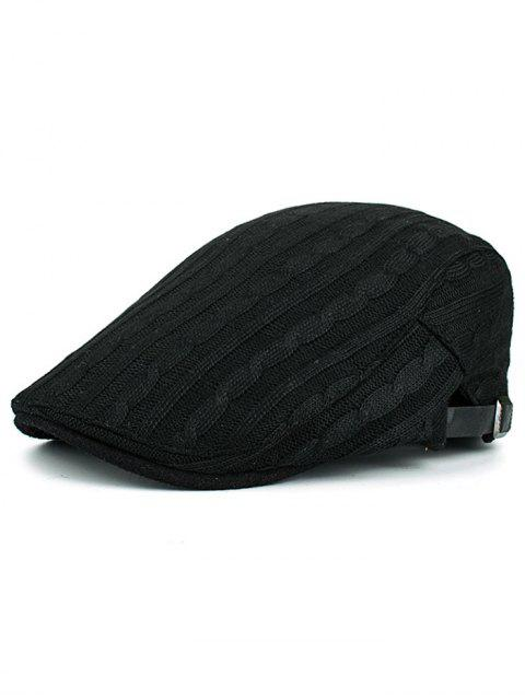 outfit Multipurpose Striped Pattern Knit Cabbie Hat - BLACK  Mobile