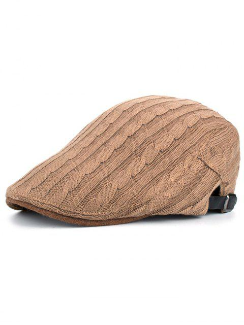 latest Multipurpose Striped Pattern Knit Cabbie Hat - KHAKI  Mobile
