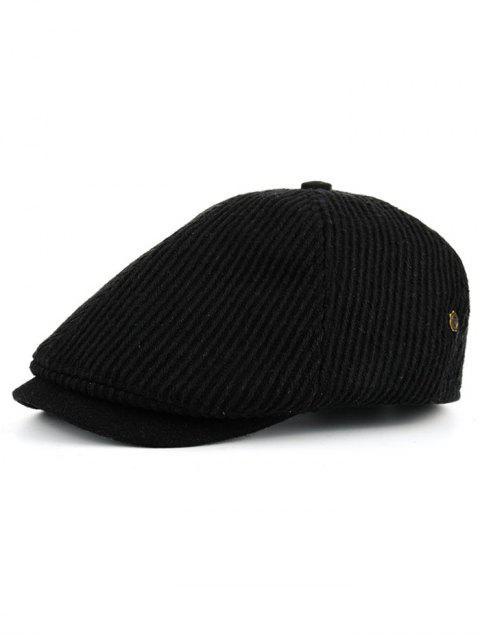 fancy Vertical Striped Pattern Embellished Newsboy Hat - BLACK  Mobile