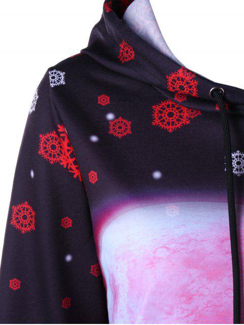 trendy Christmas Snowflake and Deer Print Drawstring Hoodie - BLACK L Mobile