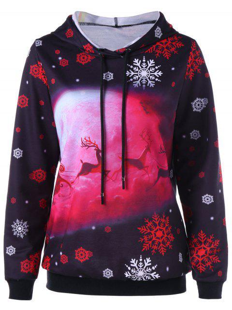 Copo de nieve con estampado de copos de nieve y ciervos de Navidad - Negro XL Mobile