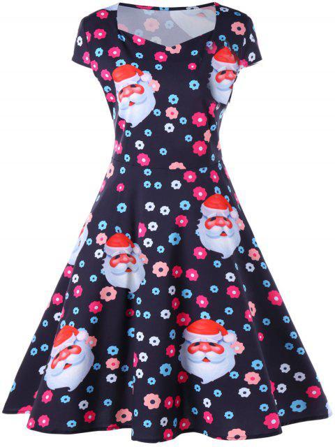 Vestido estampado de Santa y flores de Navidad - Negro S Mobile