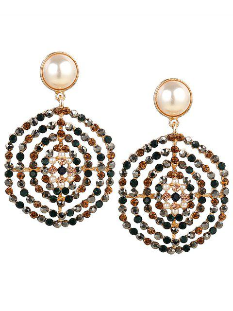Rhinestone Faux Pearl Hexagon Pendientes - Floral  Mobile