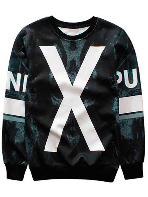 Sweat-shirt à Col Ras du Cou à Motif - Noir M Mobile