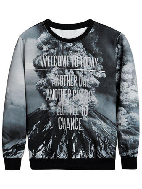 unique Mountain Print Crew Neck Sweatshirt - COLORMIX M Mobile