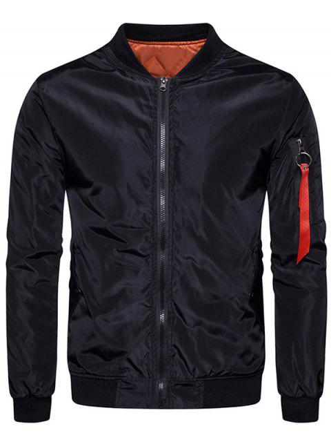 buy Stand Collar Zip Up Padded Bomber Jacket - BLACK XL Mobile