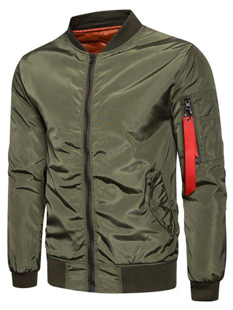 ladies Stand Collar Zip Up Padded Bomber Jacket - ARMY GREEN XL Mobile