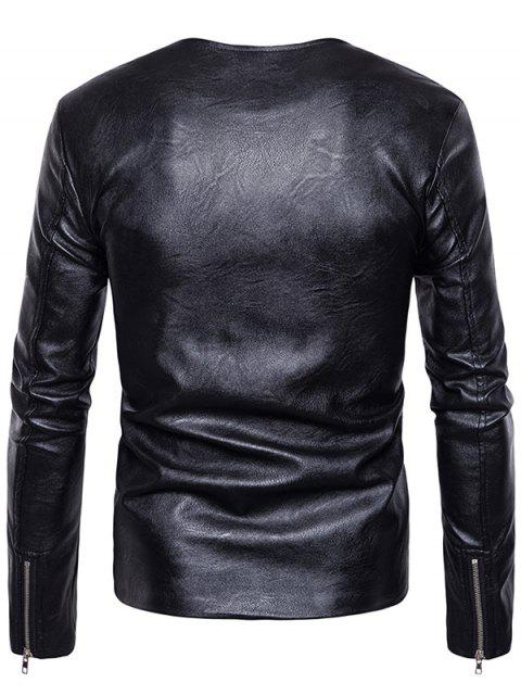 outfits Crew Neck Double Zippers PU Leather Jacket - BLACK M Mobile