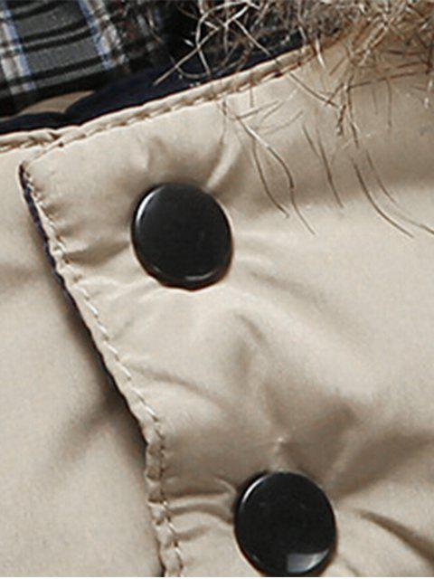 online Two Tone Faux Fur Hood Puffer Jacket - KHAKI XL Mobile