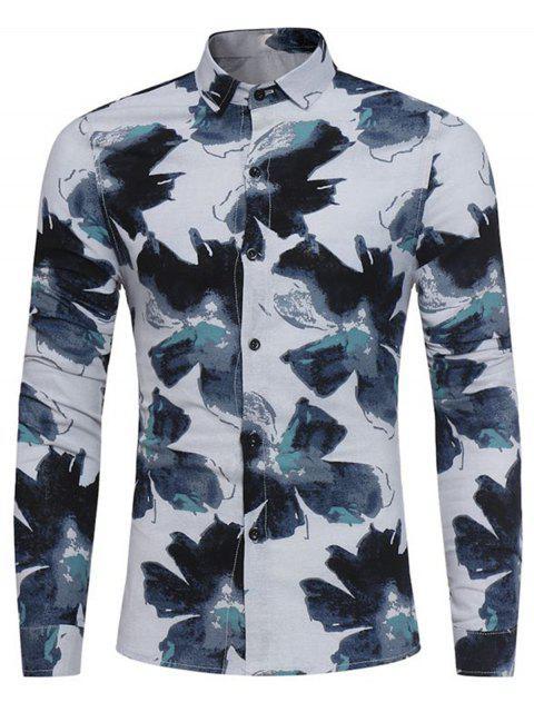lady Floral Painting Print Cotton Linen Shirt - BLUE L Mobile