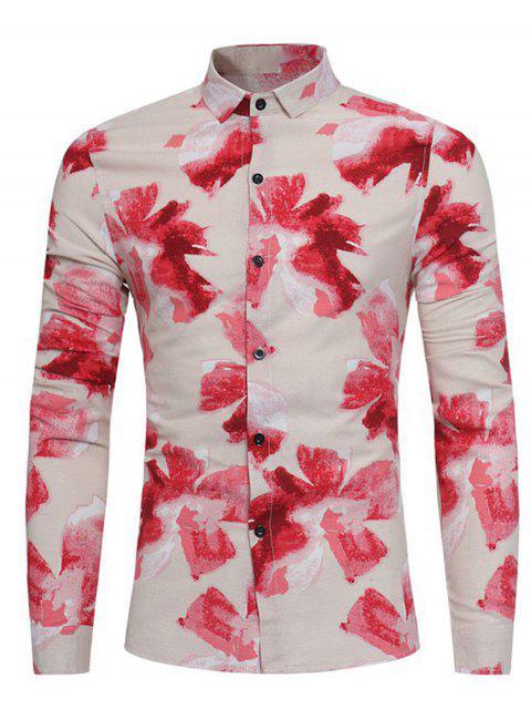 Blumenmalerei Druck Baumwolle Leinen Shirt - Rot L Mobile