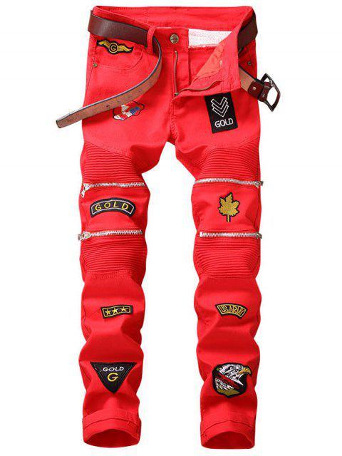 Mit Reißverschluss verschönte, gepatchte Biker-Jeans - Rot 36 Mobile