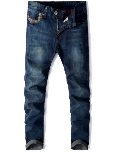 fancy Straight Leg Panel Design Jeans - DEEP BLUE 36 Mobile