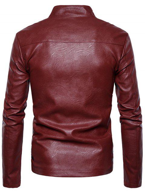 chic Color Block Panel PU Leather Zip Up Jacket - RED L Mobile