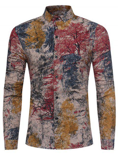 Camisa de lino de algodón con estampado de teñido estampado de plantas coloridas - Rojo 2XL Mobile