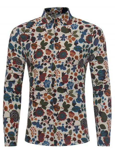 Cartoon Blumen Print Baumwolle Leinenhemd - Khaki 2XL Mobile