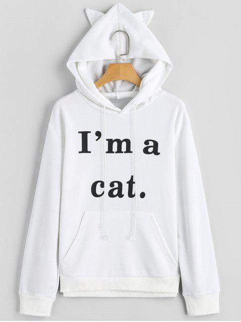 unique Front Pocket Letter Graphic Cat Hoodie - WHITE XL Mobile