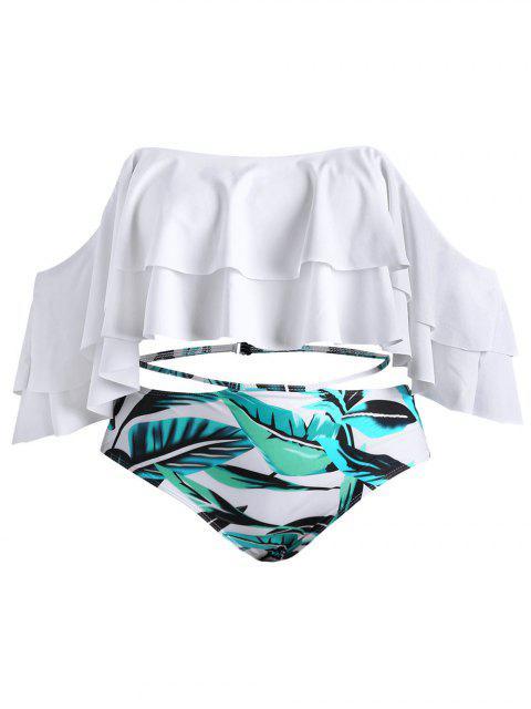 Ensemble de Bikini Feuille Imprimée à Epaule Dénudée de Grande Taille - Blanc 3XL Mobile