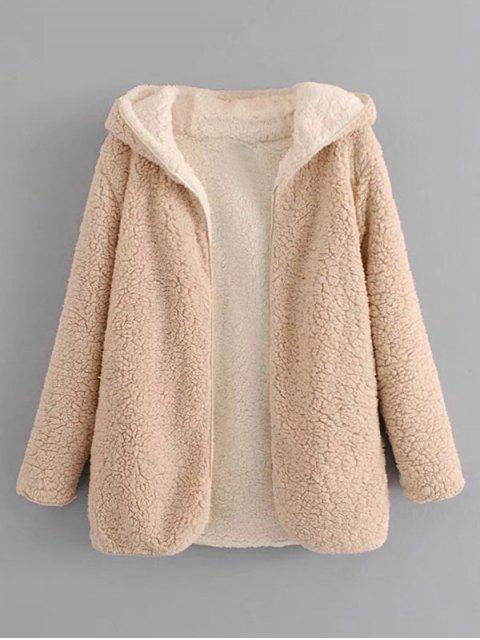 fashion Hooded Open Front Lamb Wool Teddy Coat - APRICOT M Mobile
