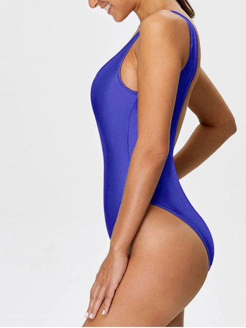 shop High Cut Backless Swimsuit - DEEP BLUE M Mobile