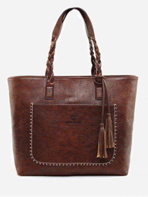 ladies Braid Tassels Whipstitch Tote Bag - DEEP BROWN  Mobile