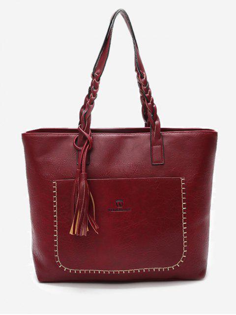 Braid Tassels Whipstitch Tote Bag - Rojo  Mobile