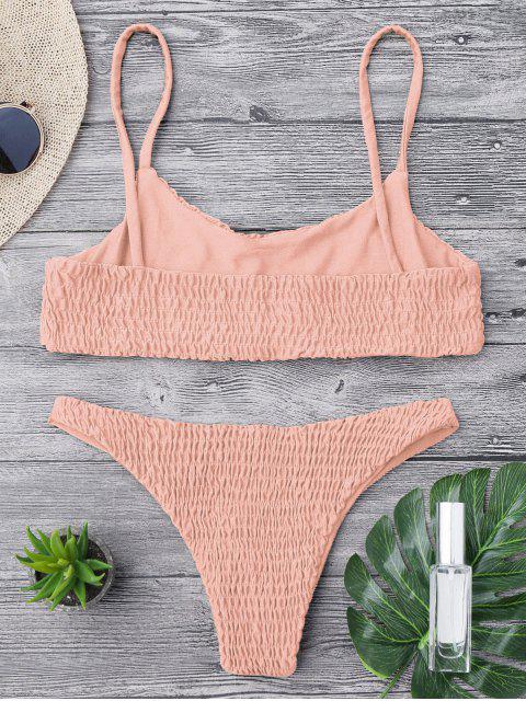 Top et Bas de Bikini Smockés - Rose  L Mobile