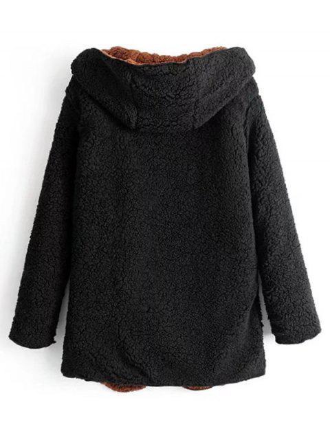 Manteau à Capuche Ouvert en Avant en Laine - Noir M Mobile