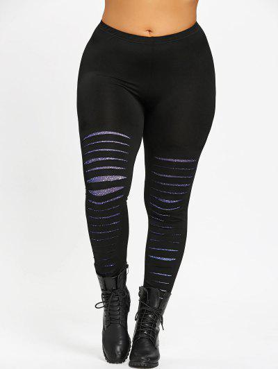 Plus Size Galaxy Ripped Leggings - Black 2xl
