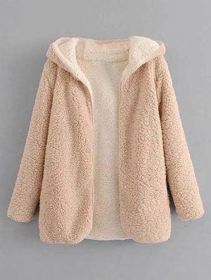 Hooded Open Front Lamb Wool Coat - Apricot M