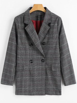 Double Breasted Checked Lapel Blazer