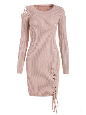 Open Shoulder Lace Up Sweater Dress