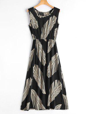 Leaf Print Sleeveless Midi Dress