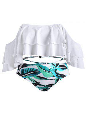 Bikini en Ensemble de Imprimé de Feulles et Epaules Dénudées