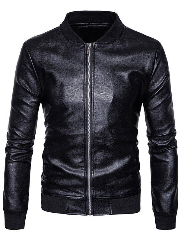 Rib Zip Up Faux Leather Baseball Jacket 234209305