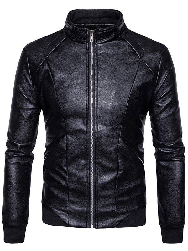 Panel Design PU Leather Zip Up Bomber Jacket 234209602