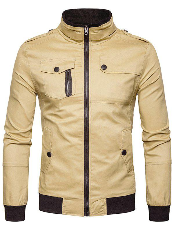Epaulet Design Pockets Zip Up Cargo Jacket 234252504