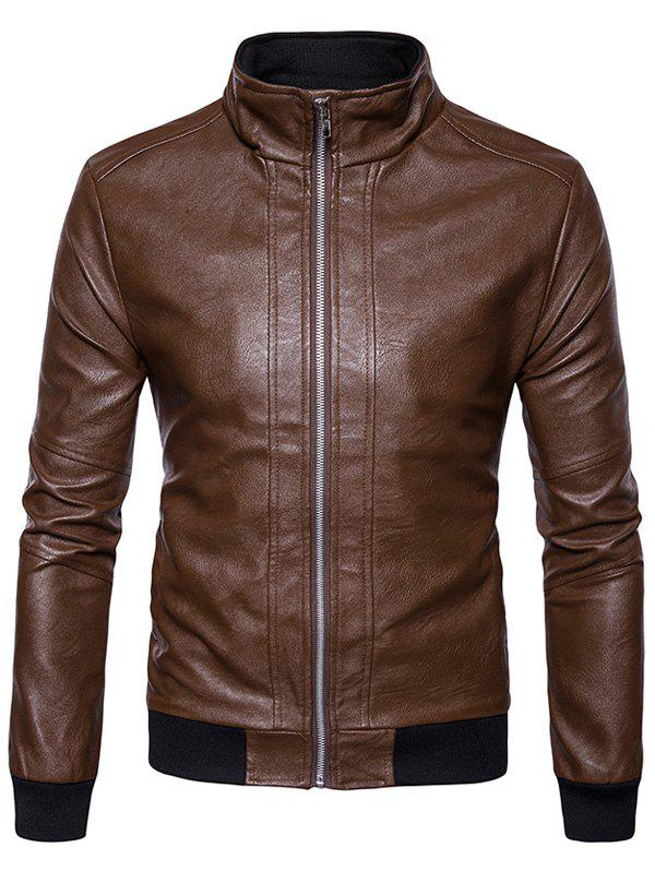 Rib Panel Design Zip Up PU Leather Jacket 234210306