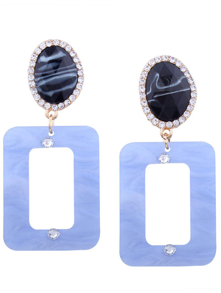 Resin Rhinestone Oval Geometric Earrings - LIGHT BLUE